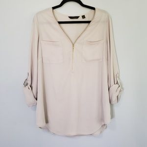 Investments Zipper Neck Beige Top - LARGE